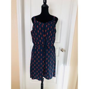 Merona High/Low Navy Blue Dress w Burt Orange